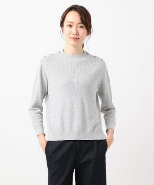J.PRESS LADIES L 【洗える】コットン片畦 ニット ライトグレー系