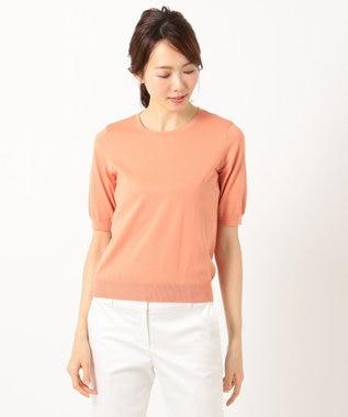 J.PRESS LADIES L 【洗える】KNIT BASIC SS 半袖ニット ライトオレンジ系