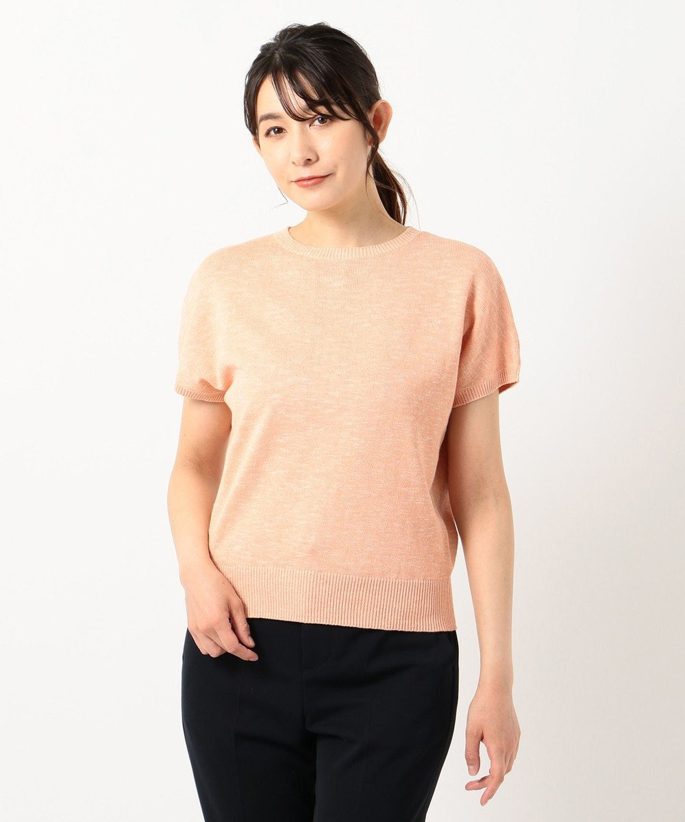 J.PRESS LADIES S 【洗える】コットンリネン ニット オレンジ系