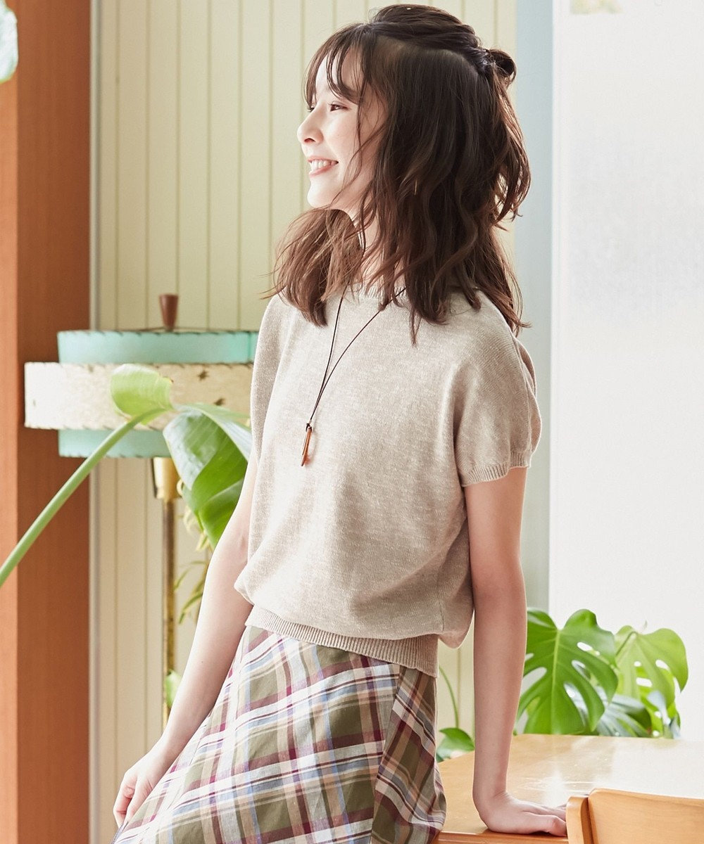 J.PRESS LADIES S 【洗える】コットンリネン ニット ベージュ系