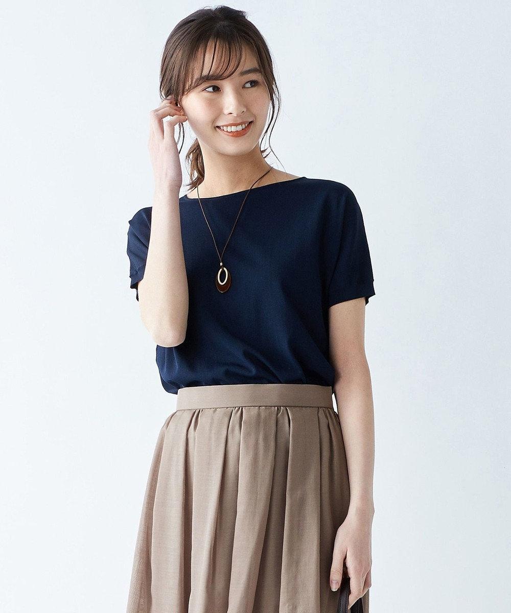 J.PRESS LADIES S 【洗える】レーヨンストレッチバックボタン ニット ネイビー系