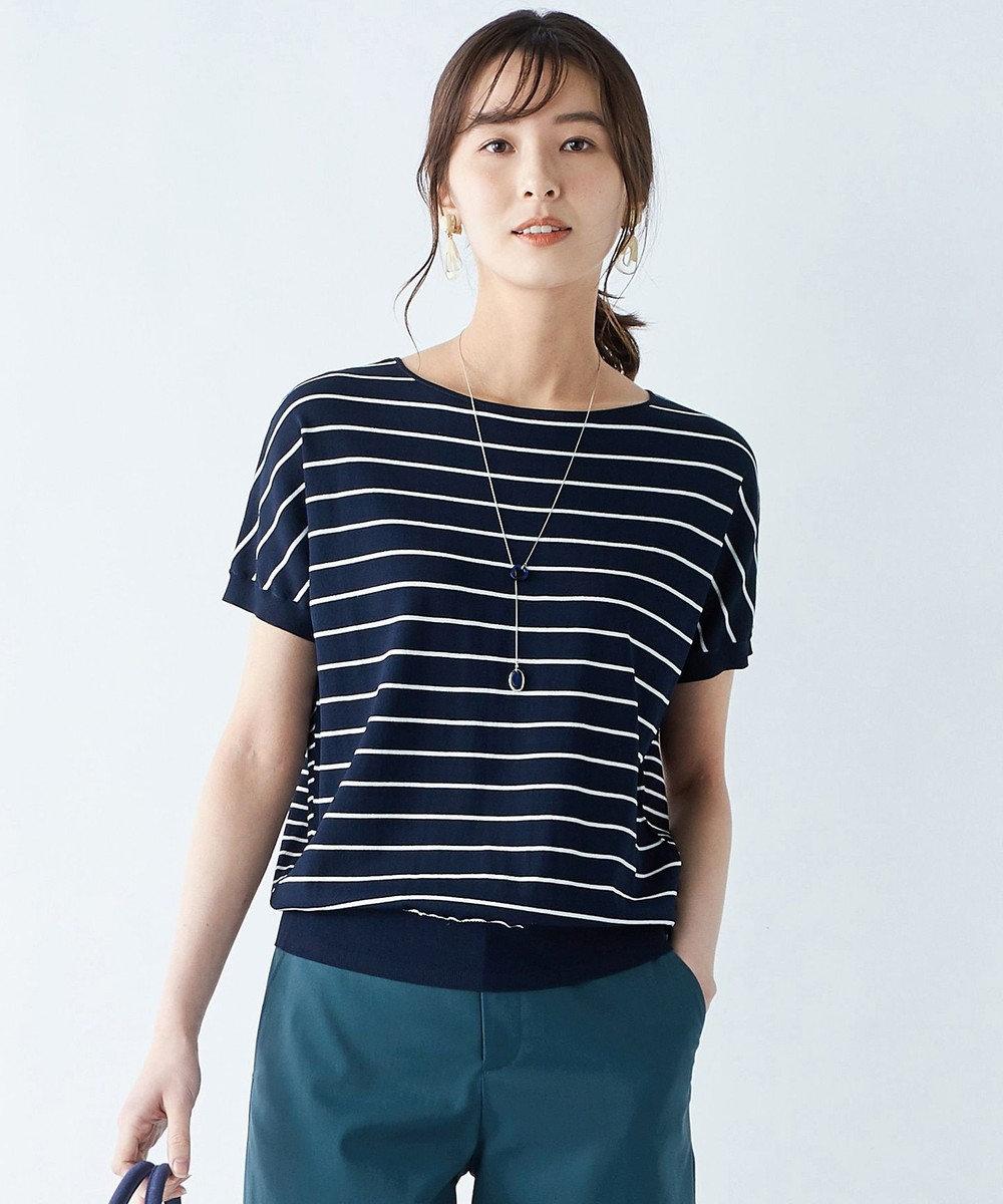 J.PRESS LADIES S 【洗える】レーヨンストレッチバックボタン ニット ネイビー系1