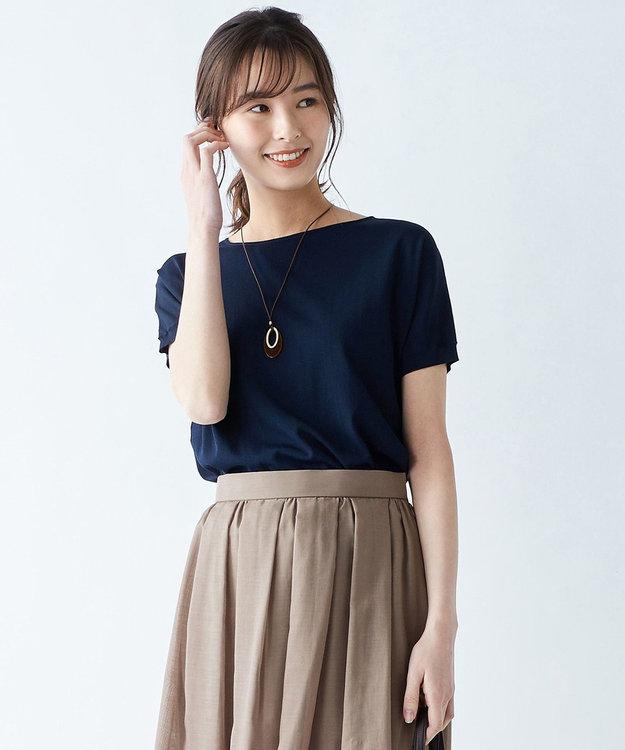 J.PRESS LADIES S 【洗える】レーヨンストレッチバックボタン ニット