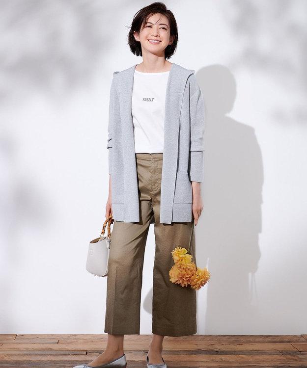 J.PRESS LADIES S 【洗える】オーガニックコットンフーデッド カーディガン