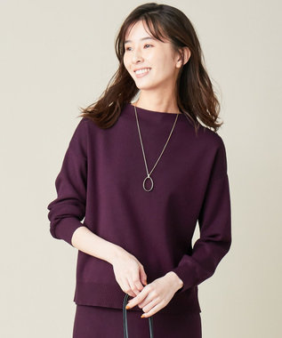 J.PRESS LADIES 【洗える】PRINCE モックネック ニット パープル系