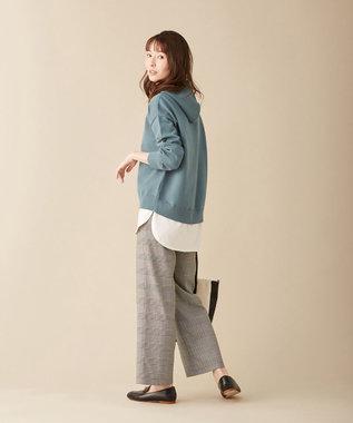 J.PRESS LADIES 【洗える】KATE WOOL ニット パーカー ダルブルー系