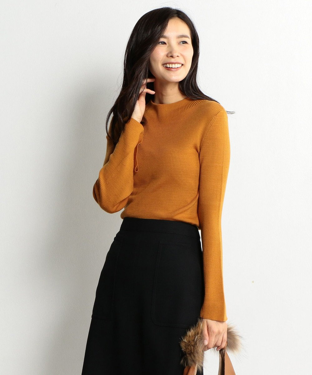 J.PRESS LADIES L 【洗える!】テンセルウールリブ フレアスリーブニット オレンジ系
