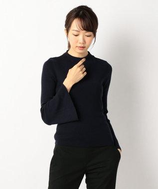 J.PRESS LADIES L 【洗える!】テンセルウールリブ フレアスリーブニット ネイビー系