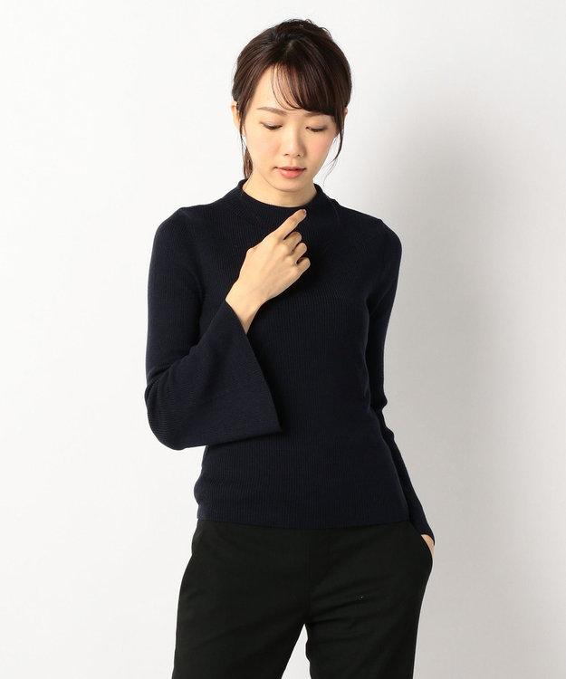J.PRESS LADIES L 【洗える!】テンセルウールリブ フレアスリーブニット