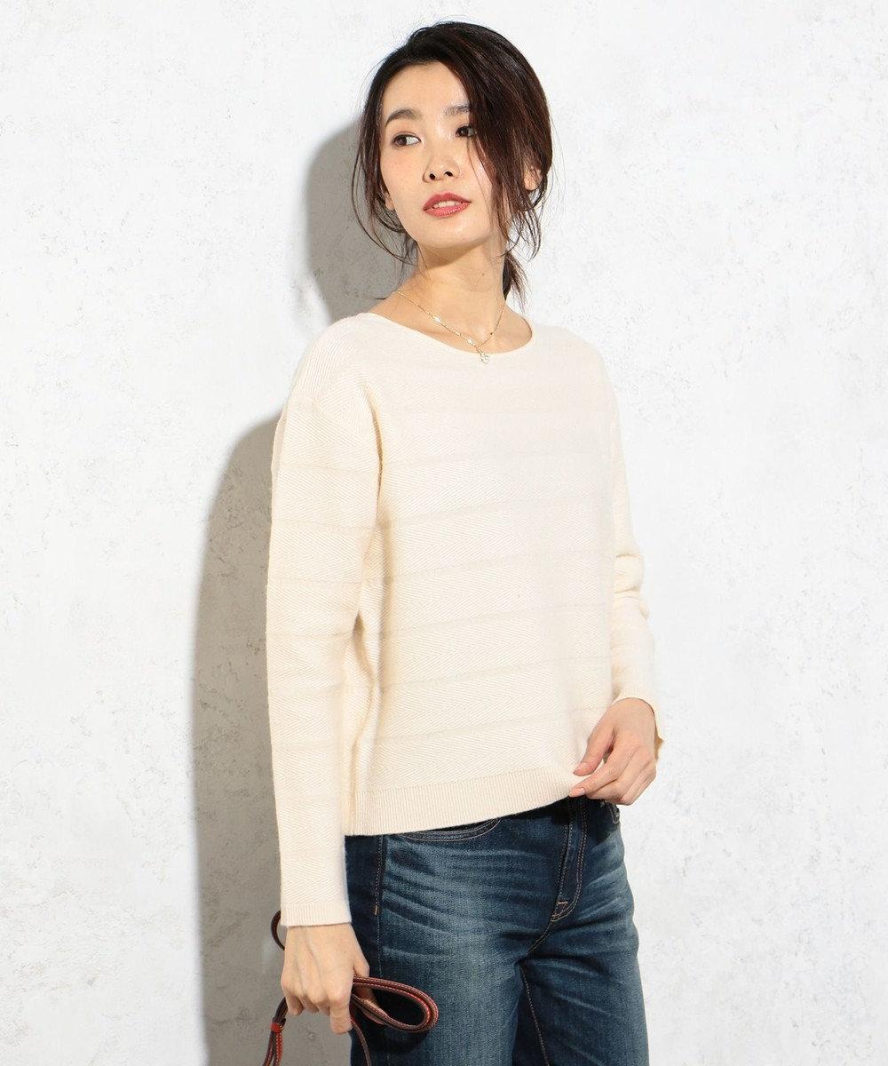 J.PRESS LADIES L 【洗える!】ヤブリボーダー柄ニット ベージュ系