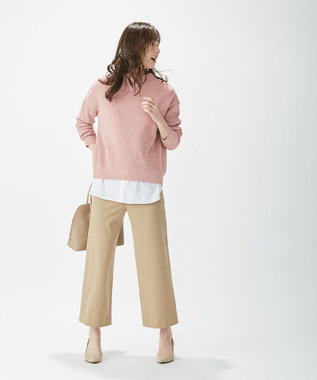 J.PRESS LADIES 【洗える】コットンアクリル片畦 ニット ピンク系