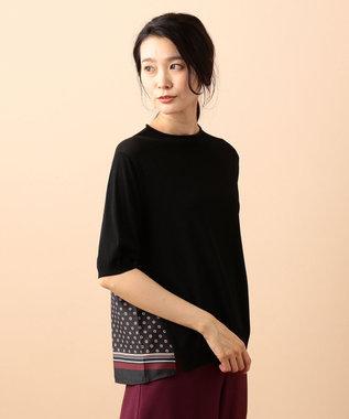 J.PRESS LADIES 【洗える】レーヨンナイロンニット 布帛コンビ ニット ブラック系
