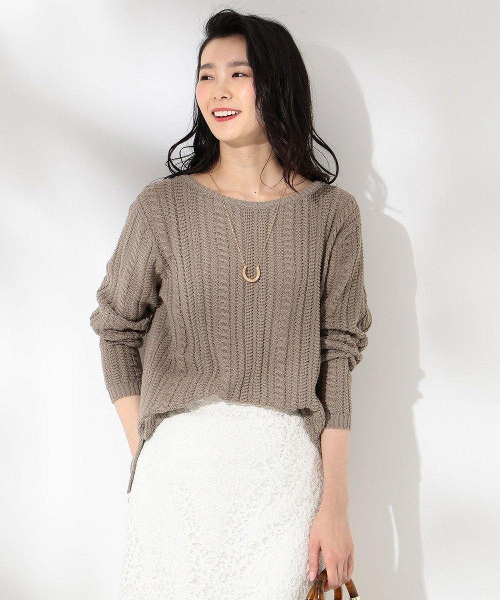 J.PRESS LADIES 【洗える】ケーブルスカシ ニット ベージュ系