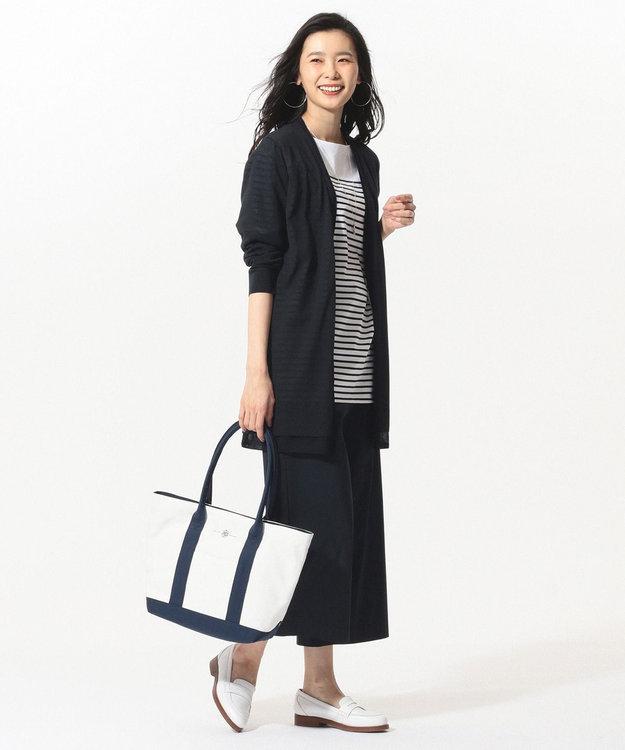 J.PRESS LADIES 【洗える】シャドーコットンポリエステル ロング カーディガン