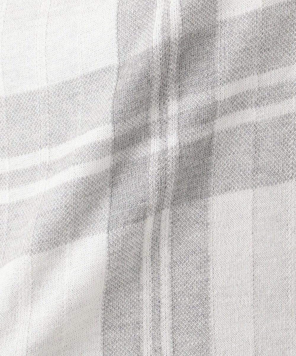 J.PRESS LADIES 【洗える】チェックジャガードコットン ニット ライトグレー系4