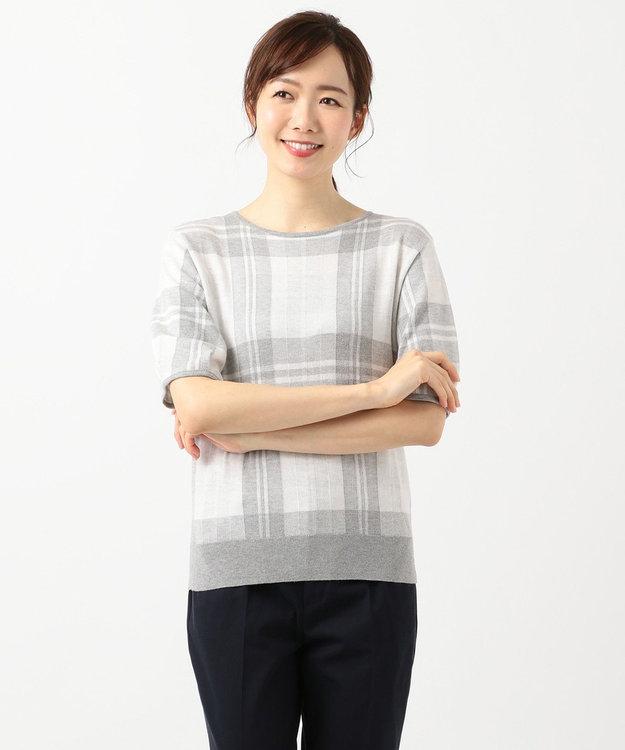 J.PRESS LADIES 【洗える】チェックジャガードコットン ニット