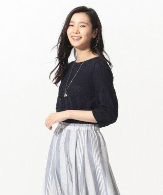 J.PRESS LADIES L 【洗える】レーシーボーダー ニット ネイビー系