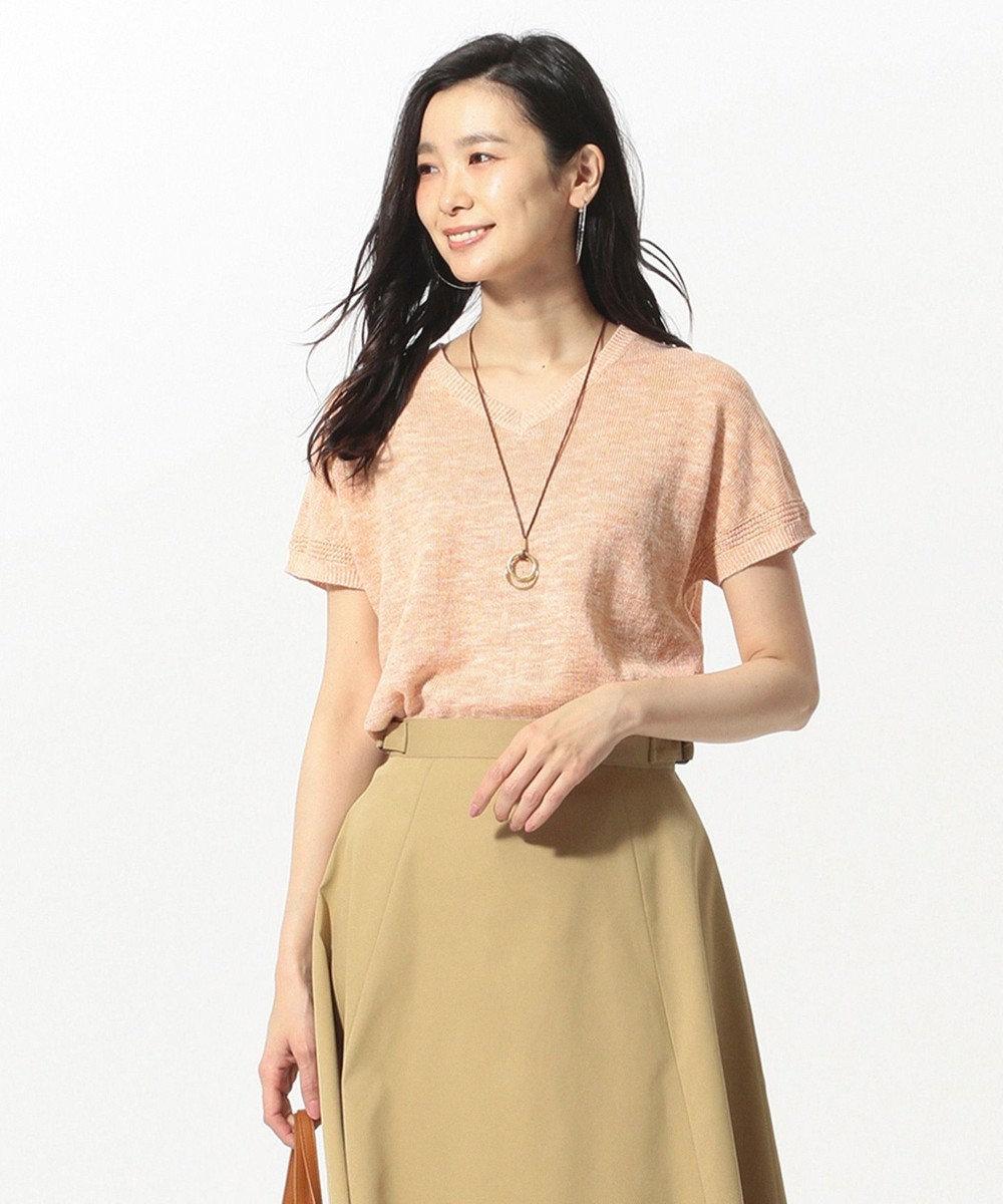 J.PRESS LADIES 【洗える】コットンリネン 半袖 ニット オレンジ系