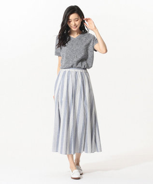 J.PRESS LADIES S 【洗える】コットンリネン 半袖 ニット ネイビー系