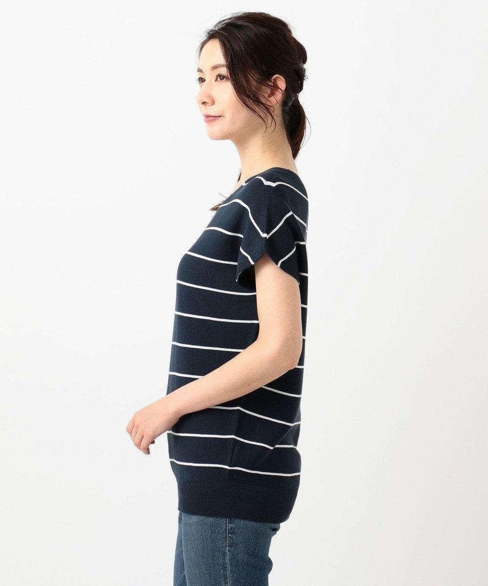 J.PRESS LADIES 【洗える】ガーターVネック プルオーバー ニット ネイビー系1