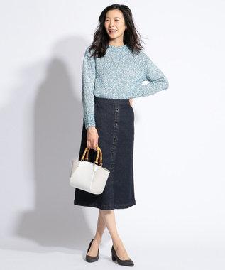 J.PRESS LADIES L 【洗える】カラーMIXファンシー ニット ブルー系