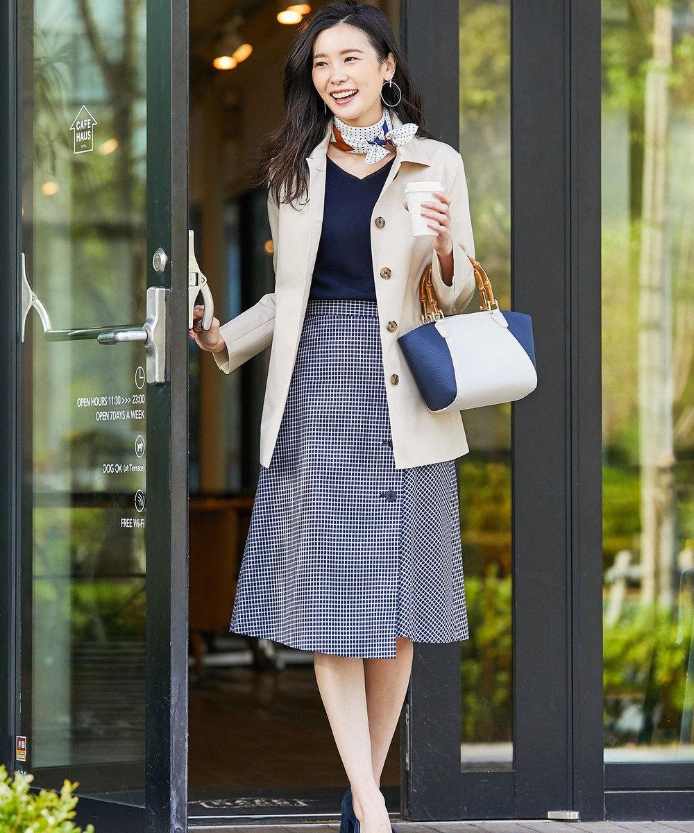 J.PRESS LADIES L 【洗える】ボリュームスリーブ Vネック ニット ネイビー系