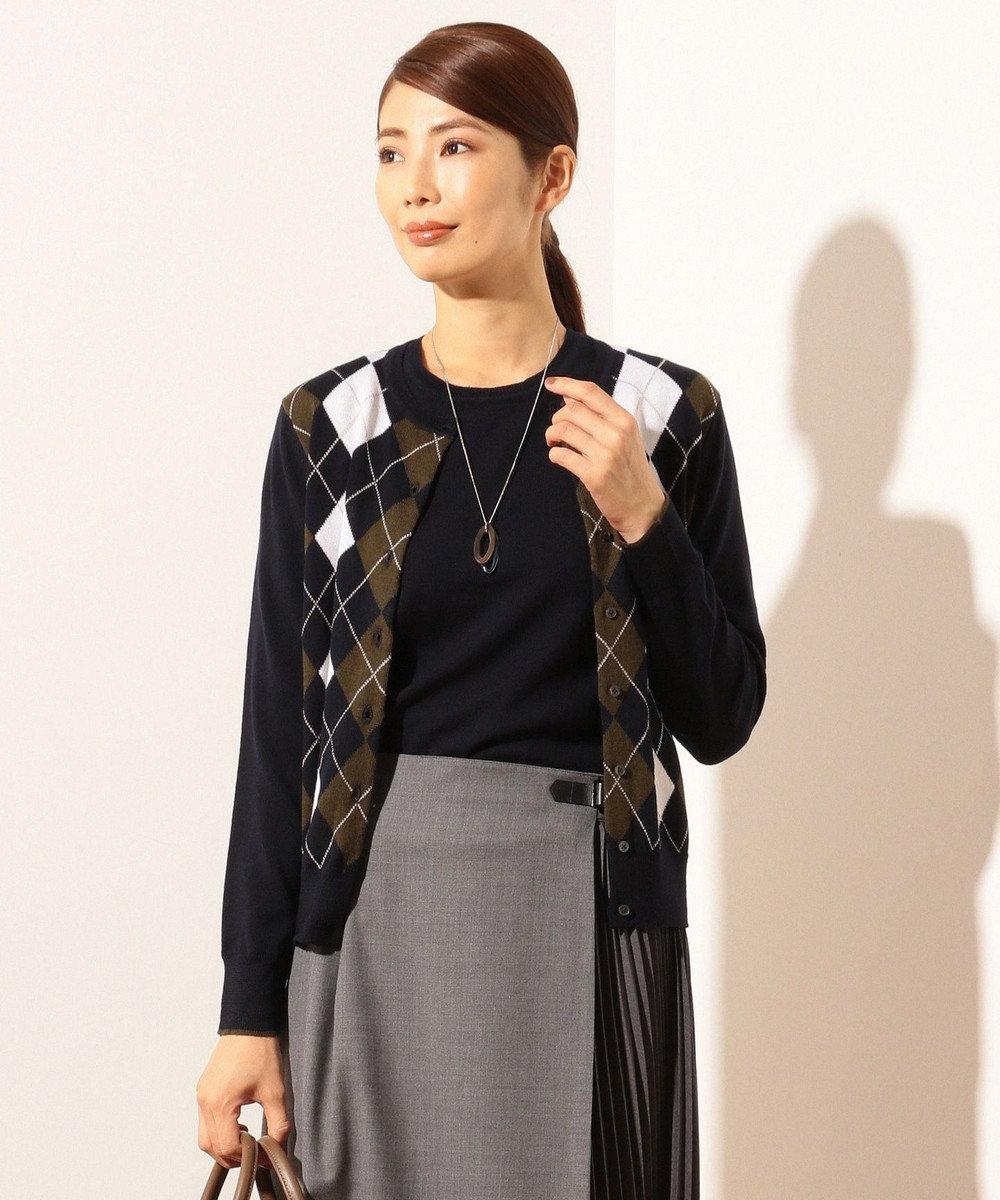 J.PRESS LADIES 【洗える】アーガイル ツインセット ネイビー系