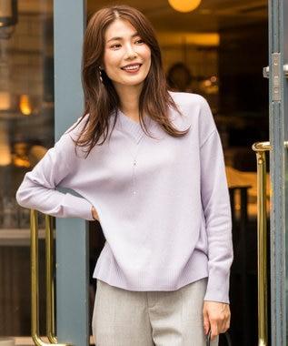J.PRESS LADIES DOROTEA Vネック ニット ふじ色系