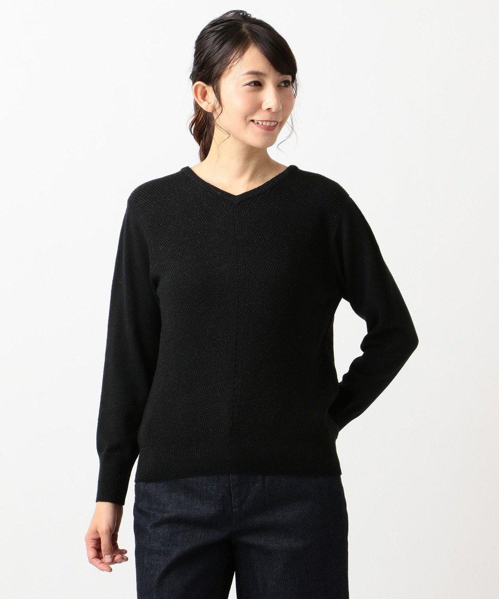J.PRESS LADIES L 【カシミヤ混】洗えるラメ ニット ブラック系