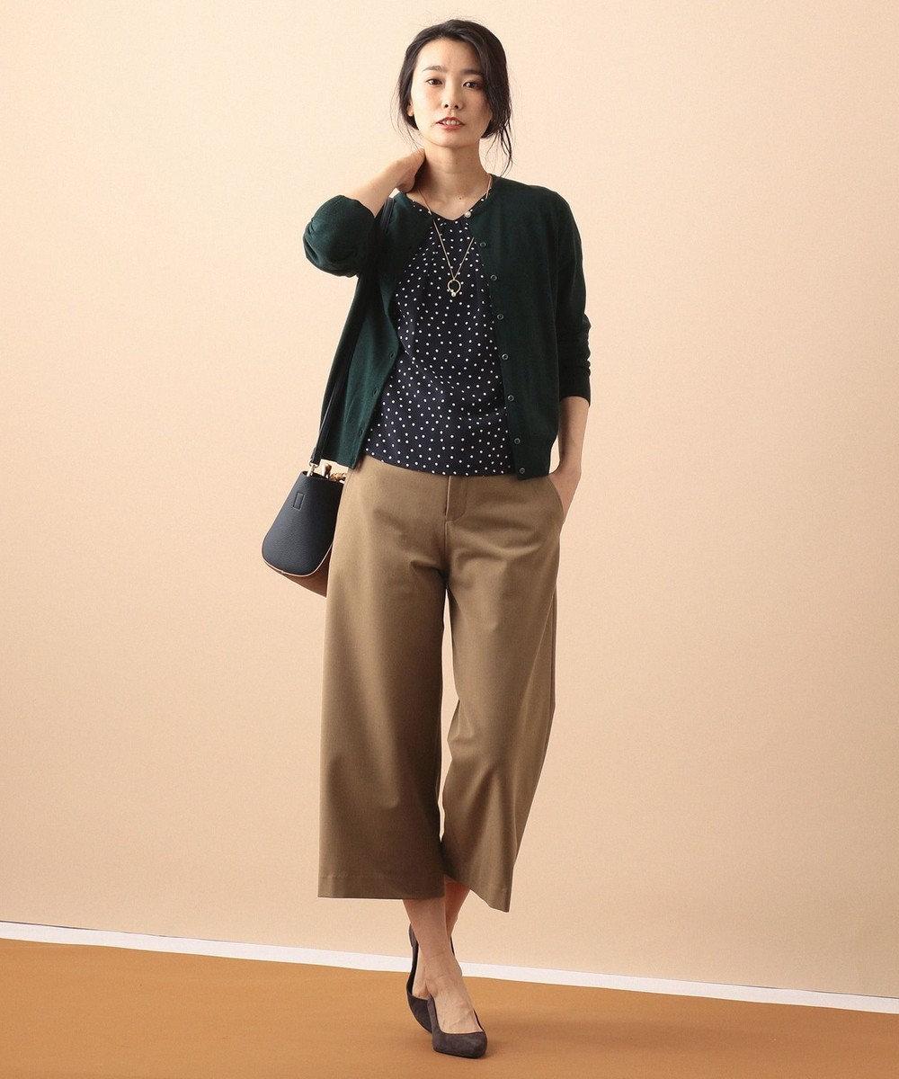 J.PRESS LADIES 【洗える】ドットプリント ツインニット グリーン系