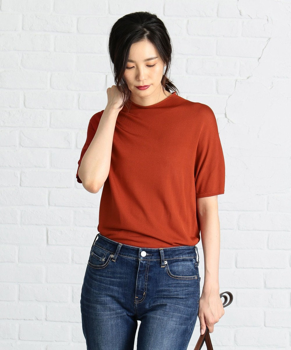 J.PRESS LADIES S 【洗える】レーヨンナイロン 半袖プルオーバー ニット オレンジ系
