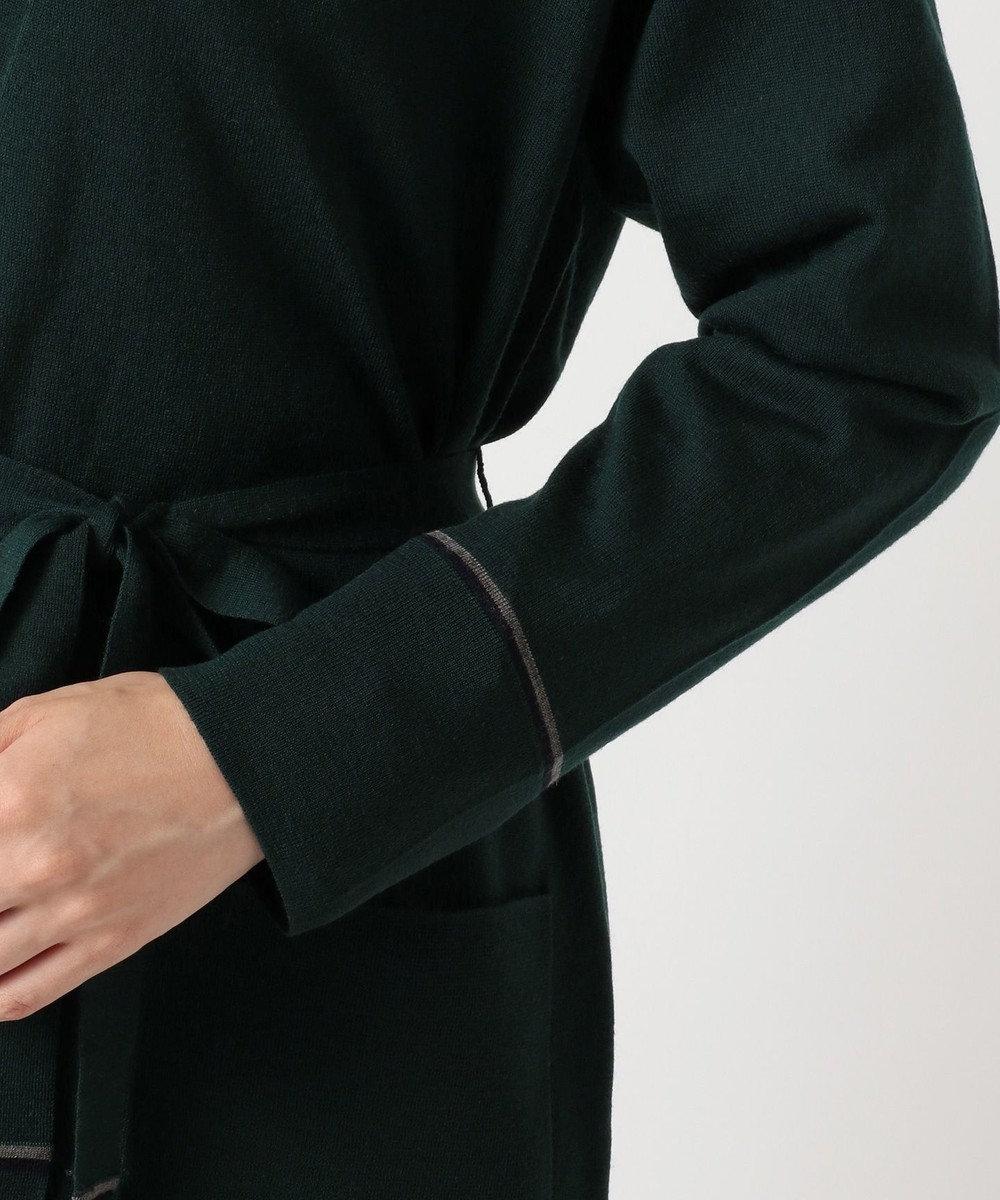 J.PRESS LADIES L 【共布ベルト付】抗ピル加工ニット ロング カーディガン ダークグリーン系