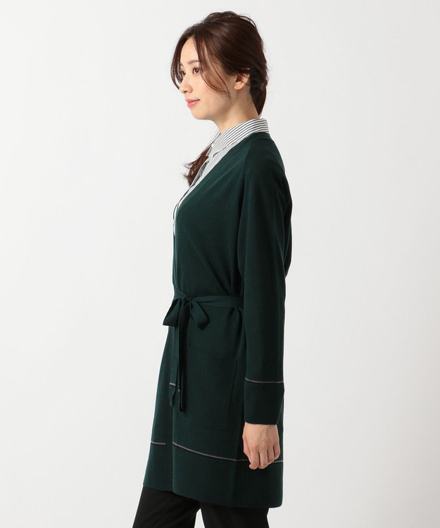 J.PRESS LADIES L 【共布ベルト付】抗ピル加工ニット ロング カーディガン