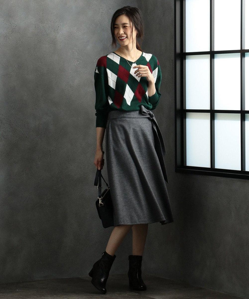 J.PRESS LADIES L 【洗える】アーガイル ニット ダークグリーン系