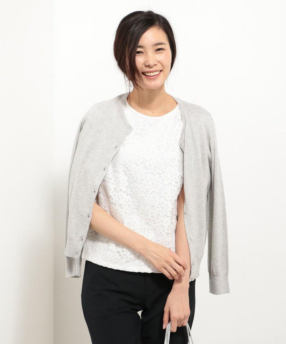 J.PRESS LADIES 【アンサンブル】レースインナーツインニット ライトグレー系