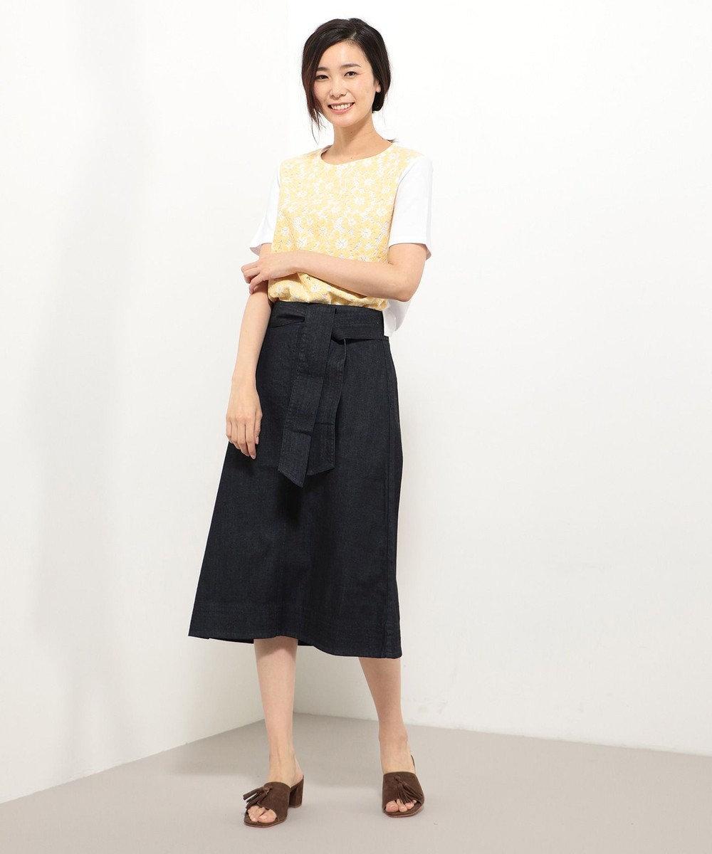 J.PRESS LADIES 【アンサンブル】レースインナーツインニット イエロー系