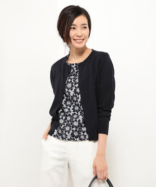 J.PRESS LADIES 【アンサンブル】レースインナーツインニット ネイビー系