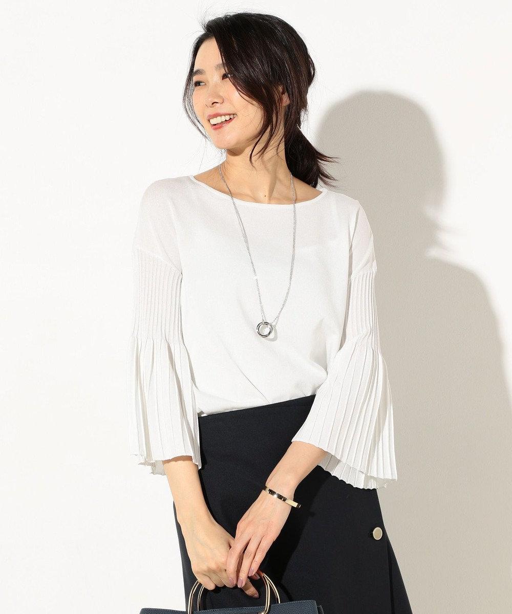 J.PRESS LADIES S 【洗える】プリーツデザイン ニット ホワイト系