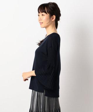 J.PRESS LADIES L 【洗える】プリーツデザイン ニット ネイビー系