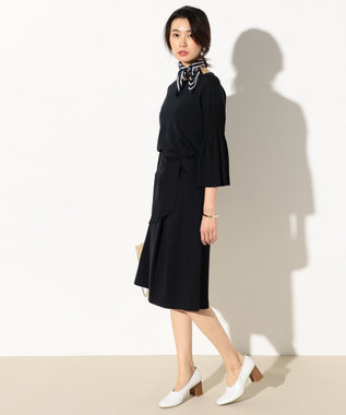 J.PRESS LADIES L 【洗える】プリーツデザイン ニット ホワイト系