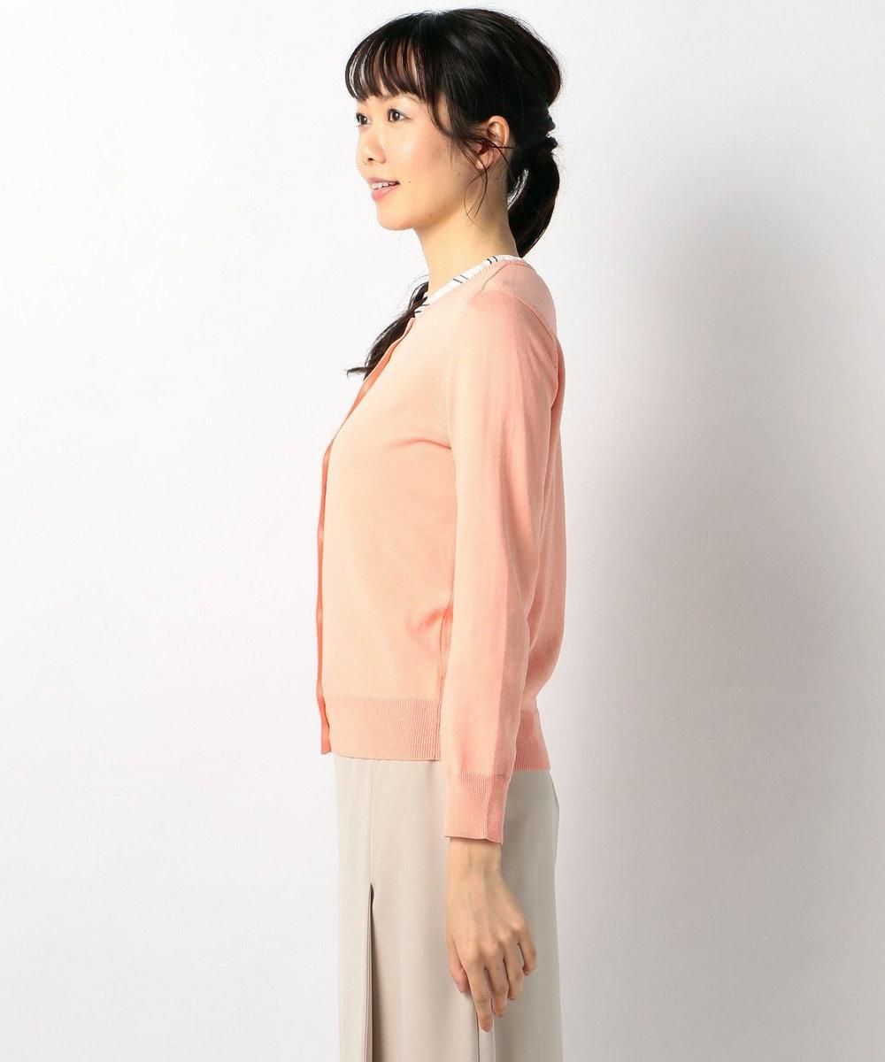 J.PRESS LADIES S 【アンサンブル】ストライプ切替 インナーツインニット オレンジ系