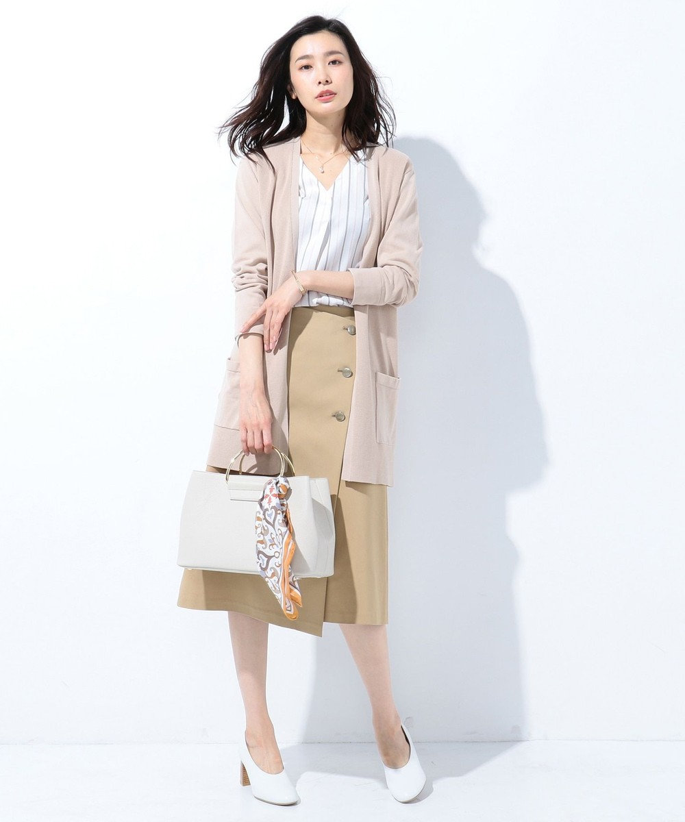 J.PRESS LADIES L 【洗える】COOL POTTER2 ロングカーディガン ベージュ系