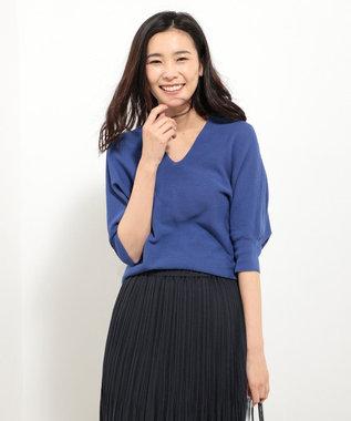 J.PRESS LADIES S 【洗える】COストレッチガーター Vネックニット ブルー系