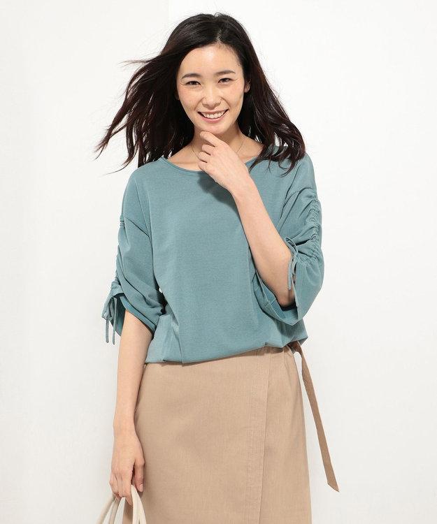 J.PRESS LADIES 【洗える】コットンポリエステル 袖ギャザー ニット