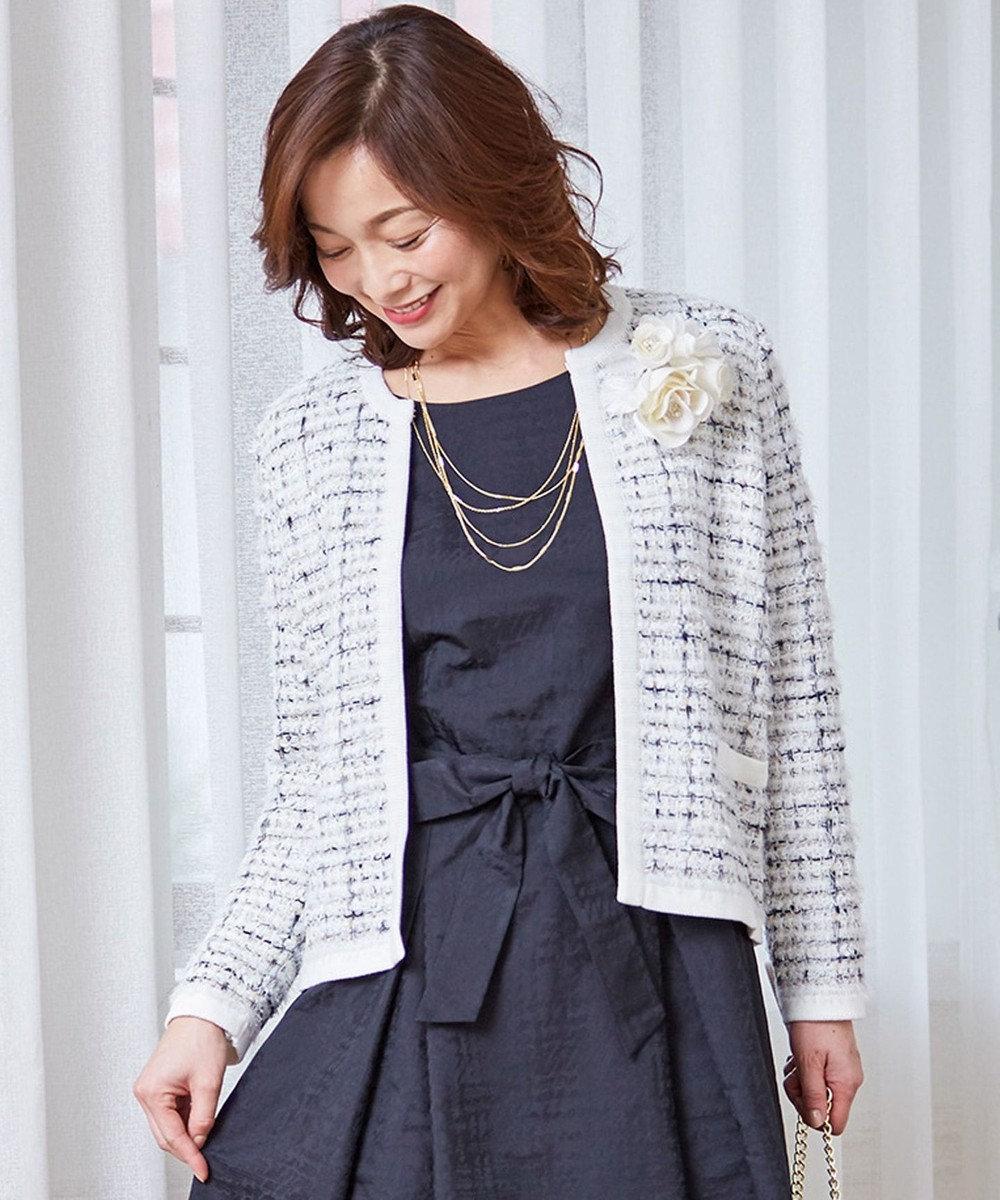 J.PRESS LADIES 【セットアップ対応】ファンシージャガードニットジャケット アイボリー系