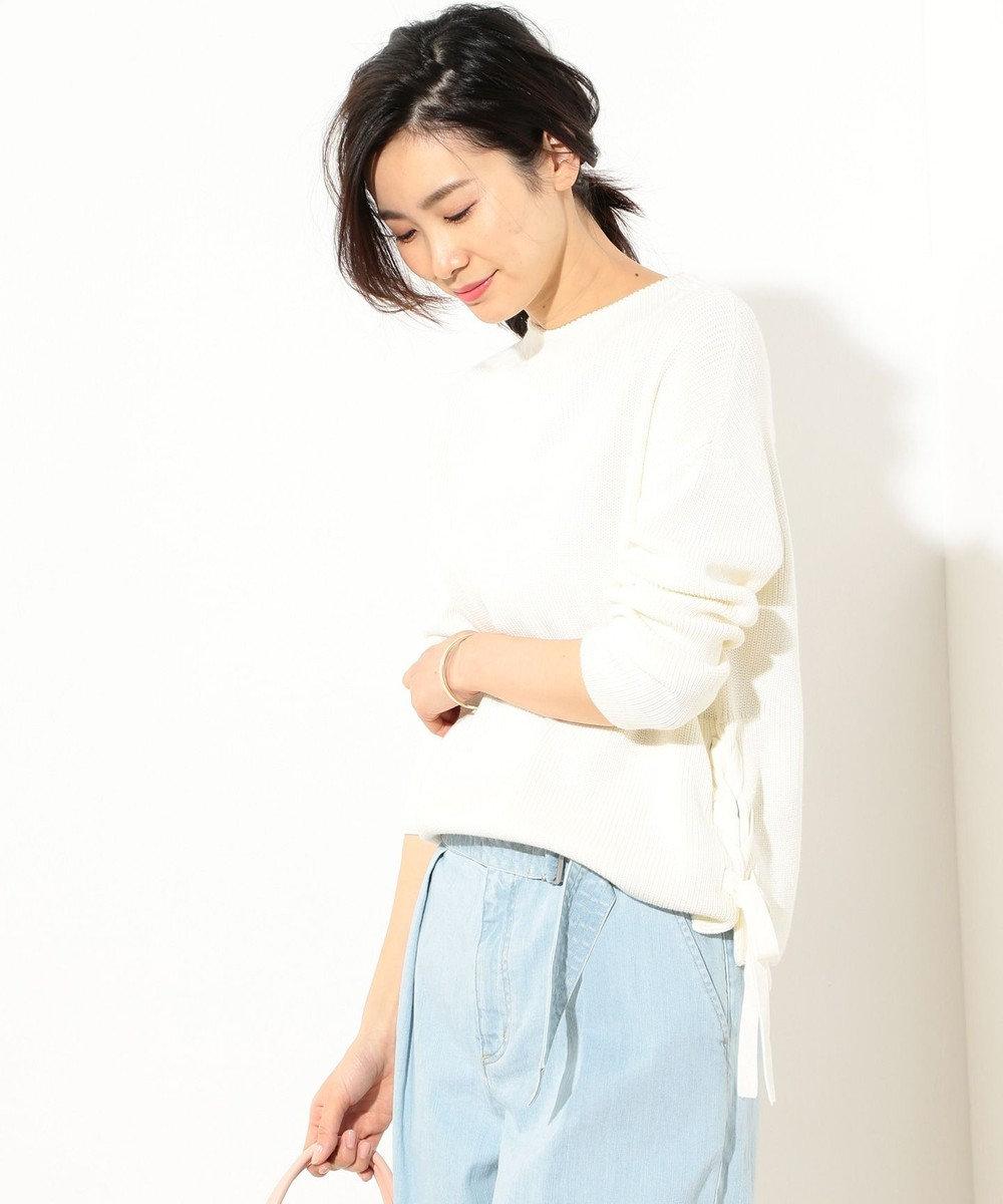J.PRESS LADIES 【洗える】コットン畦 裾リボンニット ホワイト系