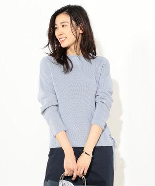 J.PRESS LADIES S 【洗える!】コットン畦 裾リボンニット ブルー系