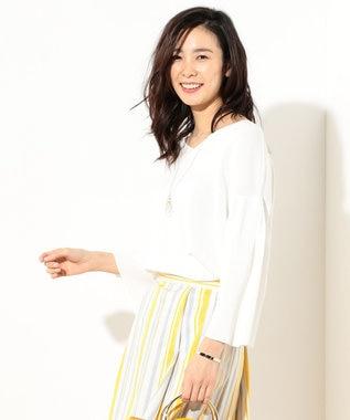 J.PRESS LADIES L 【洗える】インターロック ボリューム袖ニット ホワイト系
