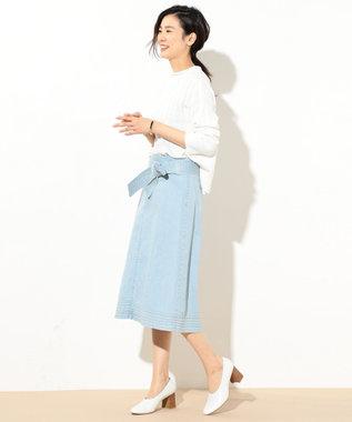 J.PRESS LADIES 【洗える】ボトルネックガンジーニット ホワイト系