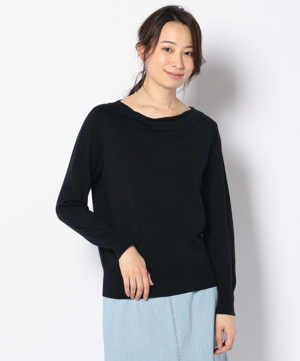 J.PRESS LADIES 【洗える】天竺カラー ドレープネックニット ネイビー系
